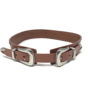 Rebecca Minkoff Sam Belt Brown Leather Silver